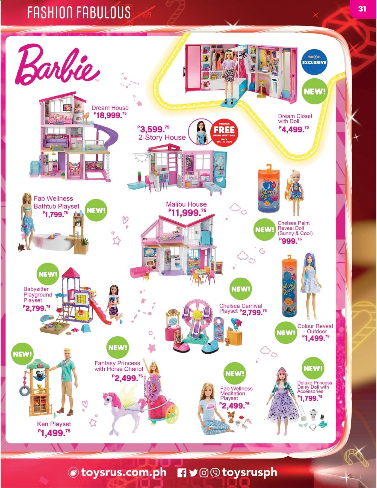 "Toys""R""Us offer  - 10.12.2020 - 31.12.2020 - Sales products - Barbie, play set, princess, paint. Page 31."