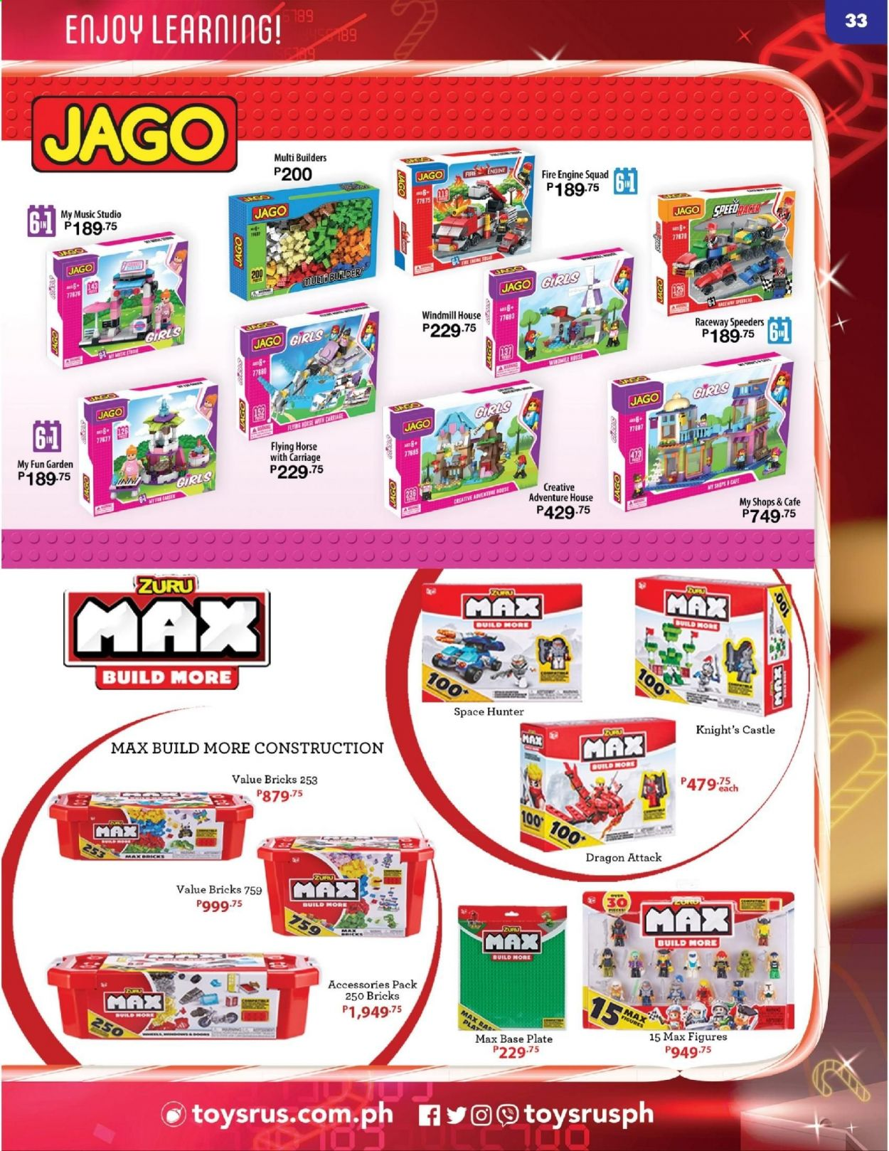 "Toys""R""Us offer  - 10.12.2020 - 31.12.2020 - Sales products - Zuru, bricks. Page 33."