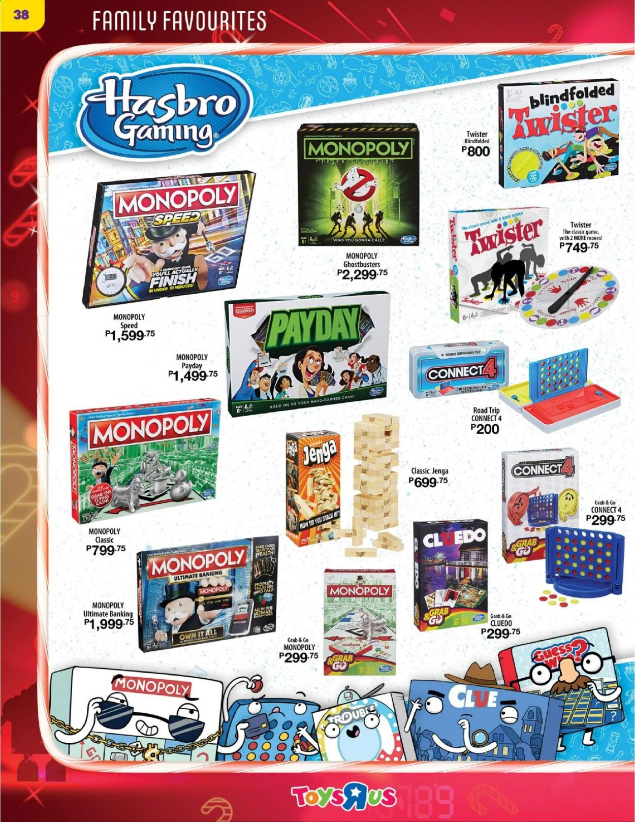 "Toys""R""Us offer  - 10.12.2020 - 31.12.2020 - Sales products - Cars, monopoly, hasbro, Twister. Page 38."