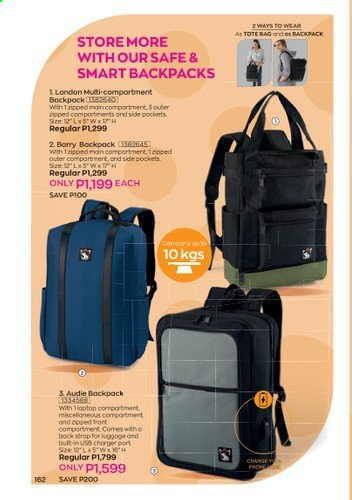 Avon offer  - 1.1.2021 - 31.1.2021 - Sales products - backpack, bag, tote, tote bag. Page 164.