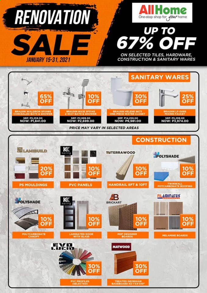 AllHome offer  - 15.1.2021 - 31.1.2021 - Sales products - faucet, canopy, glass, roofing. Page 1.