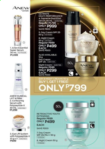 Avon offer  - Sales products - Avon, Anew, day cream, serum, night cream. Page 10.