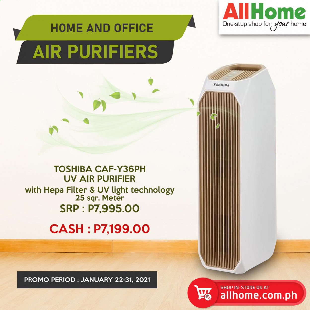AllHome offer  - 22.1.2021 - 31.1.2021 - Sales products - Toshiba, air purifier. Page 1.