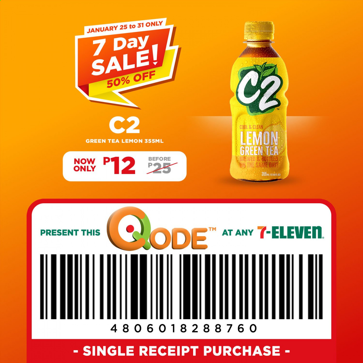 7 Eleven offer  - 25.1.2021 - 31.1.2021 - Sales products - green tea, tea. Page 1.