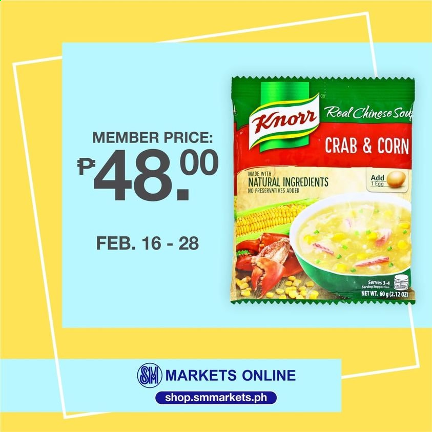 SM MARKETS offer  - 16.2.2021 - 28.2.2021 - Sales products - crab, Knorr, eggs. Page 1.
