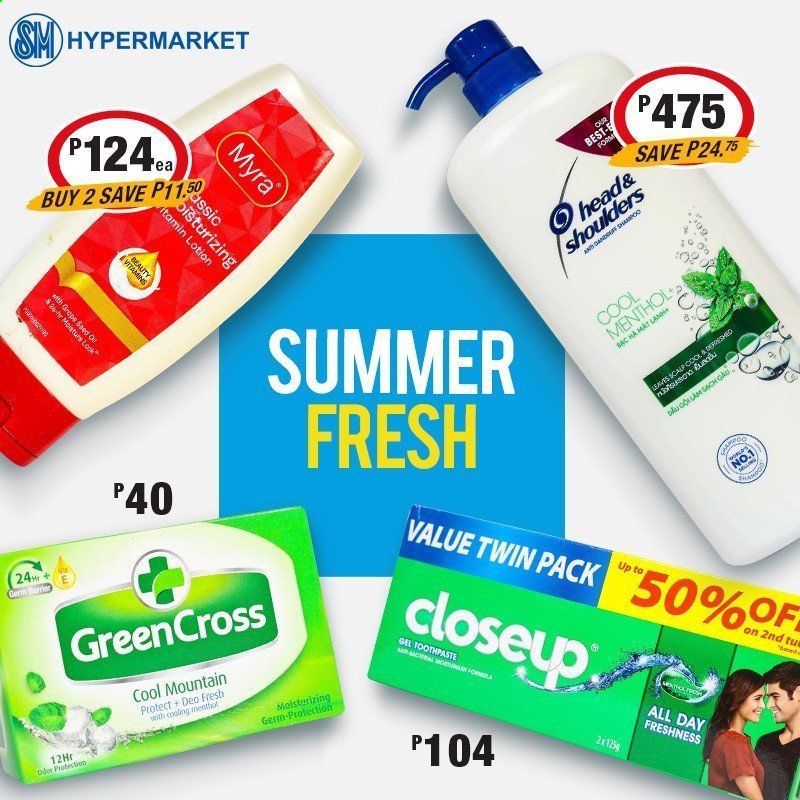 SM MARKETS offer  - Sales products - toothpaste, Closeup, body lotion, deodorant. Page 3.