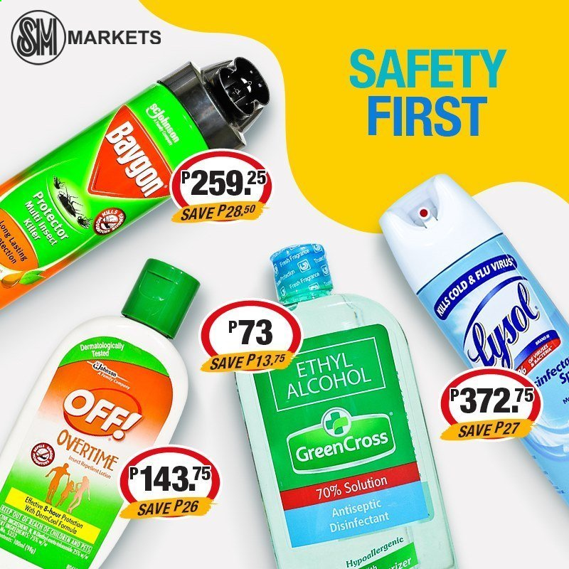 SM MARKETS offer  - Sales products - alcohol, Johnson's, Lysol, desinfection, repellent, insect killer, Cold & Flu. Page 8.