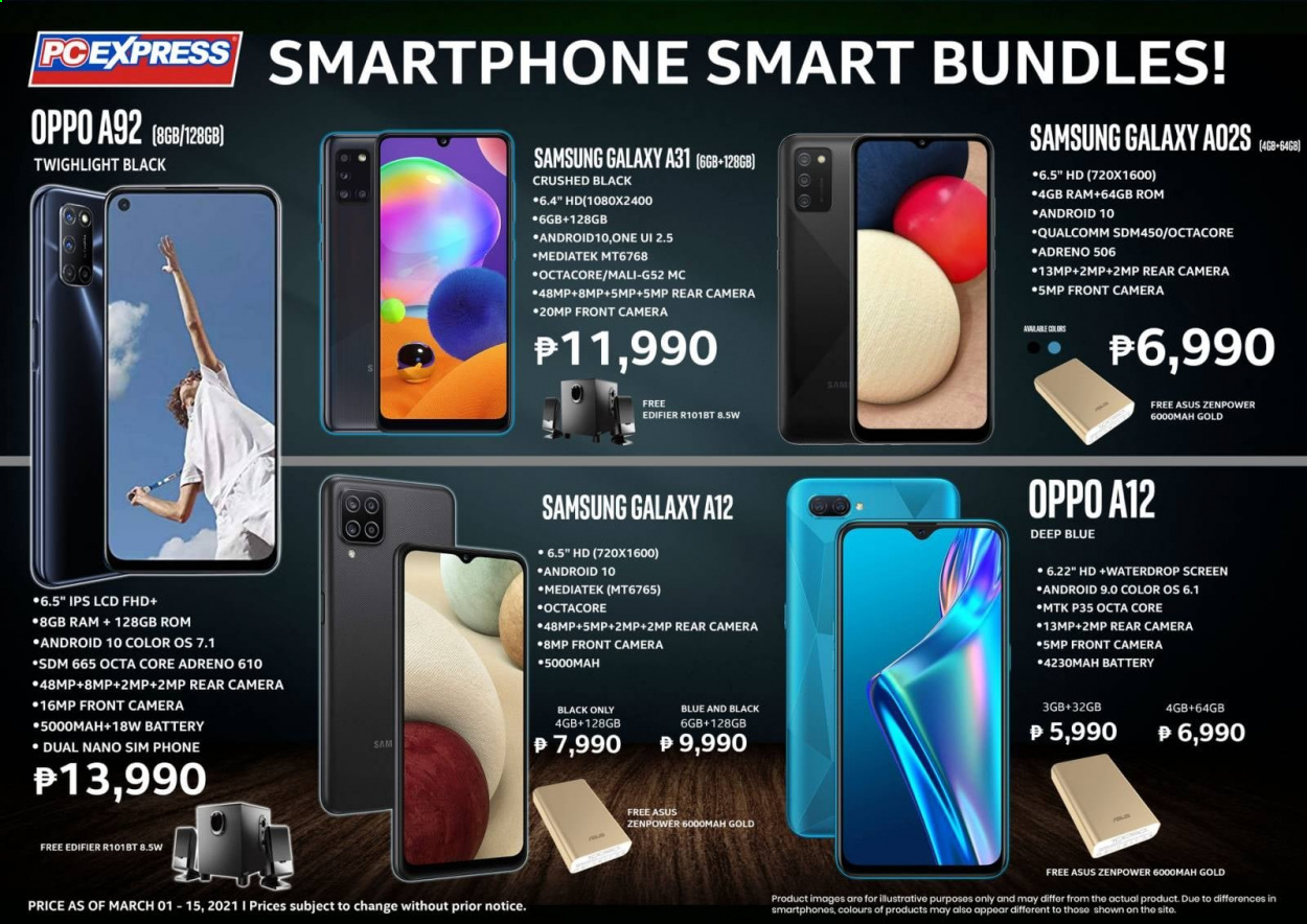 PC Express offer  - 1.3.2021 - 15.3.2021 - Sales products - Asus, Samsung Galaxy, Samsung, Oppo, phone, Samsung Galaxy A, smart phone, Samsung Galaxy A12, Samsung Galaxy A31. Page 1.