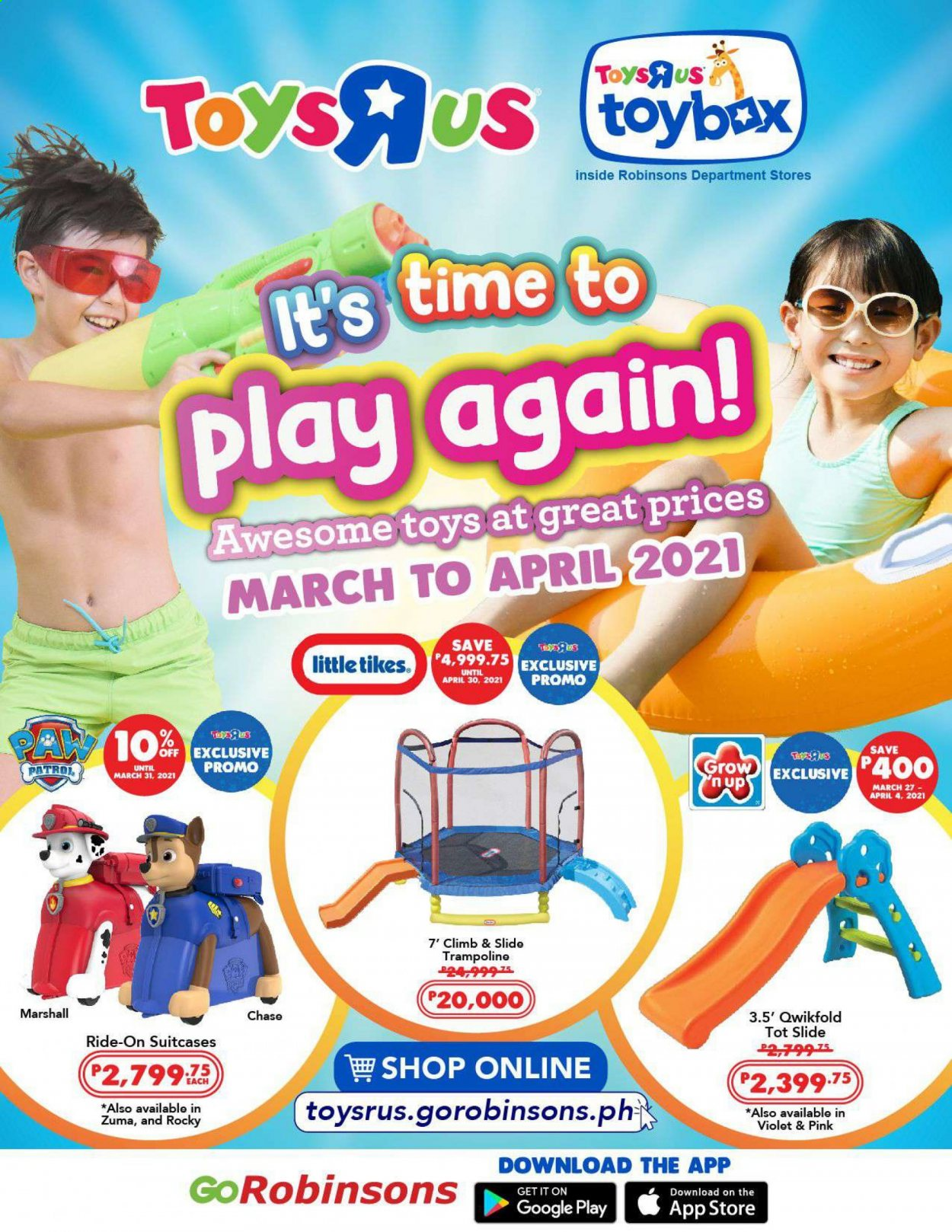 "Toys""R""Us offer  - 1.3.2021 - 30.4.2021 - Sales products - trampoline, toys, Little Tikes, Marshall. Page 1."