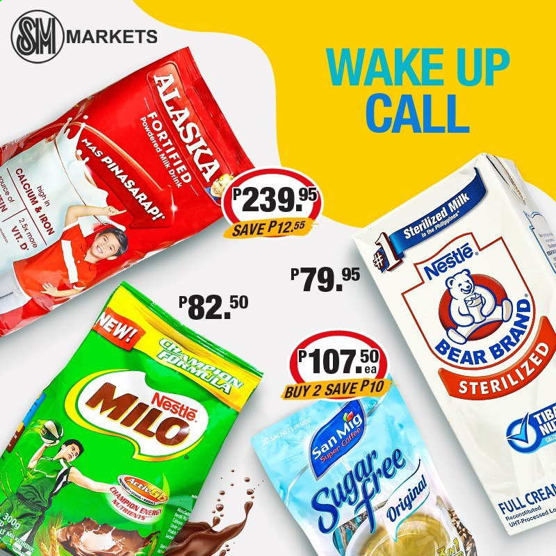 SM MARKETS offer  - Sales products - milk, Milo, Nestlé, coffee, iron, calcium. Page 6.