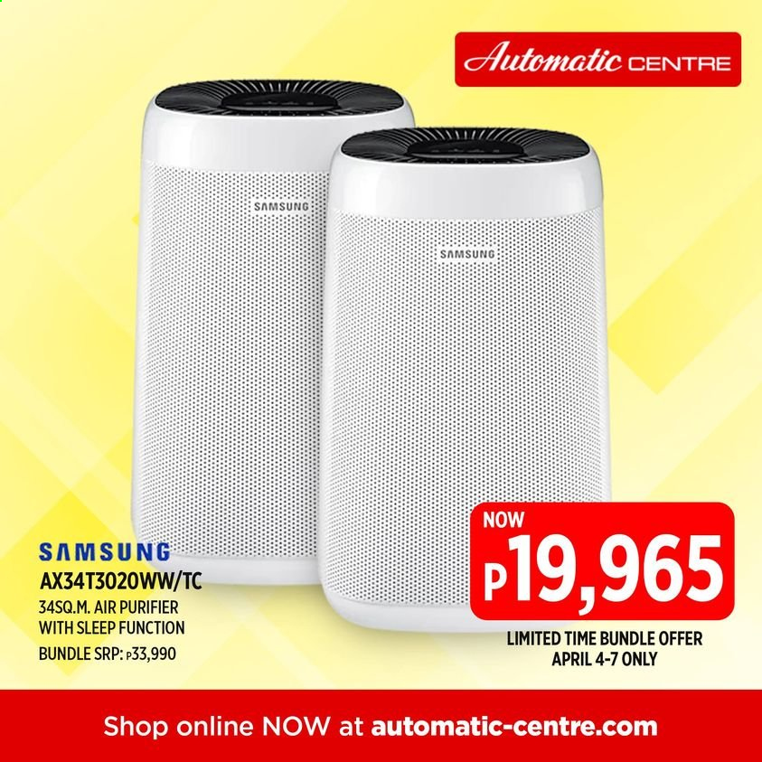 Automatic Centre offer  - 4.4.2021 - 7.4.2021 - Sales products - Samsung, air purifier. Page 1.