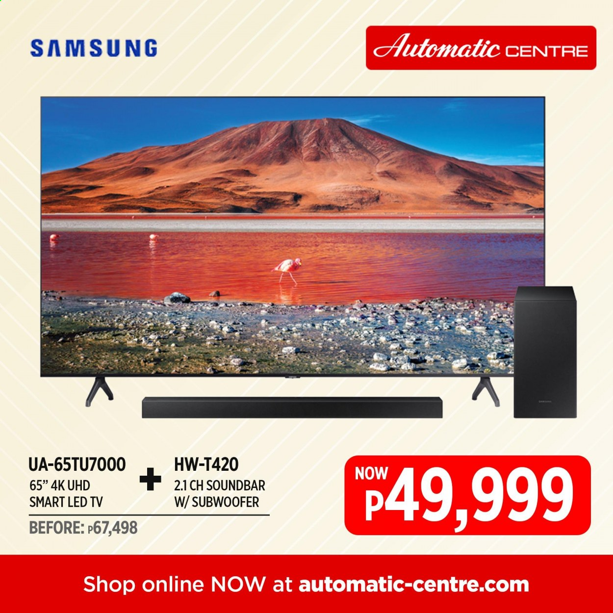 Automatic Centre offer  - Sales products - Samsung, LED TV, TV, subwoofer, sound bar. Page 1.