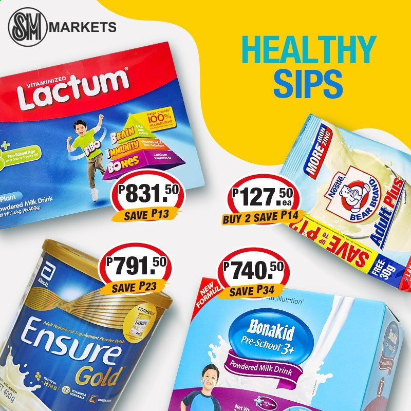SM MARKETS offer  - Sales products - Nestlé, powdered milk, iron, calcium, nutritional supplement. Page 2.