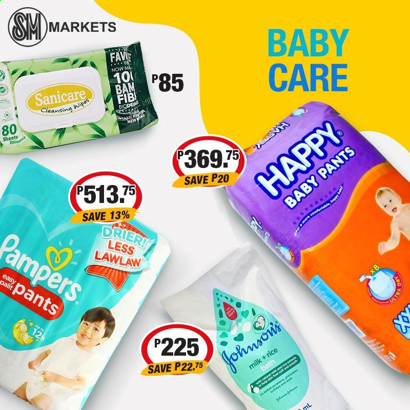 SM MARKETS offer  - Sales products - milk, rice, cleansing wipes, Pampers, Johnson's, baby pants, Sanicare, wipes. Page 3.