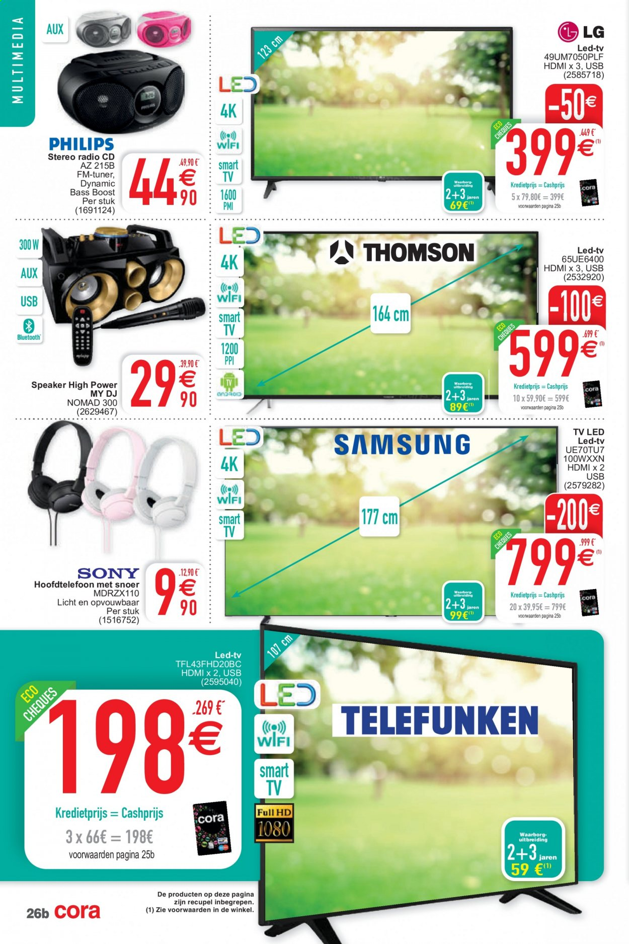 Catalogue Cora - 15.9.2020 - 28.9.2020 - Produits soldés - hdmi, tv led, usb, smart tv, radio. Page 26.