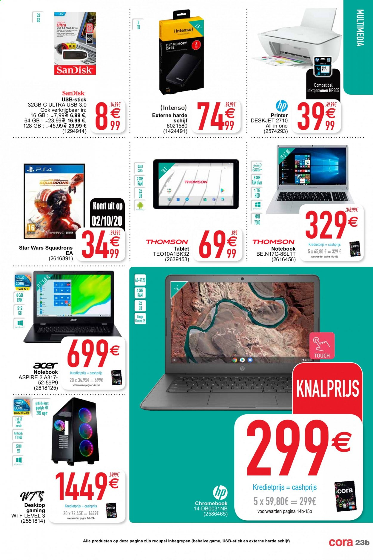 Catalogue Cora - 29.9.2020 - 12.10.2020 - Produits soldés - google, hdd, hp, usb, tablet, quad, mah, game. Page 23.