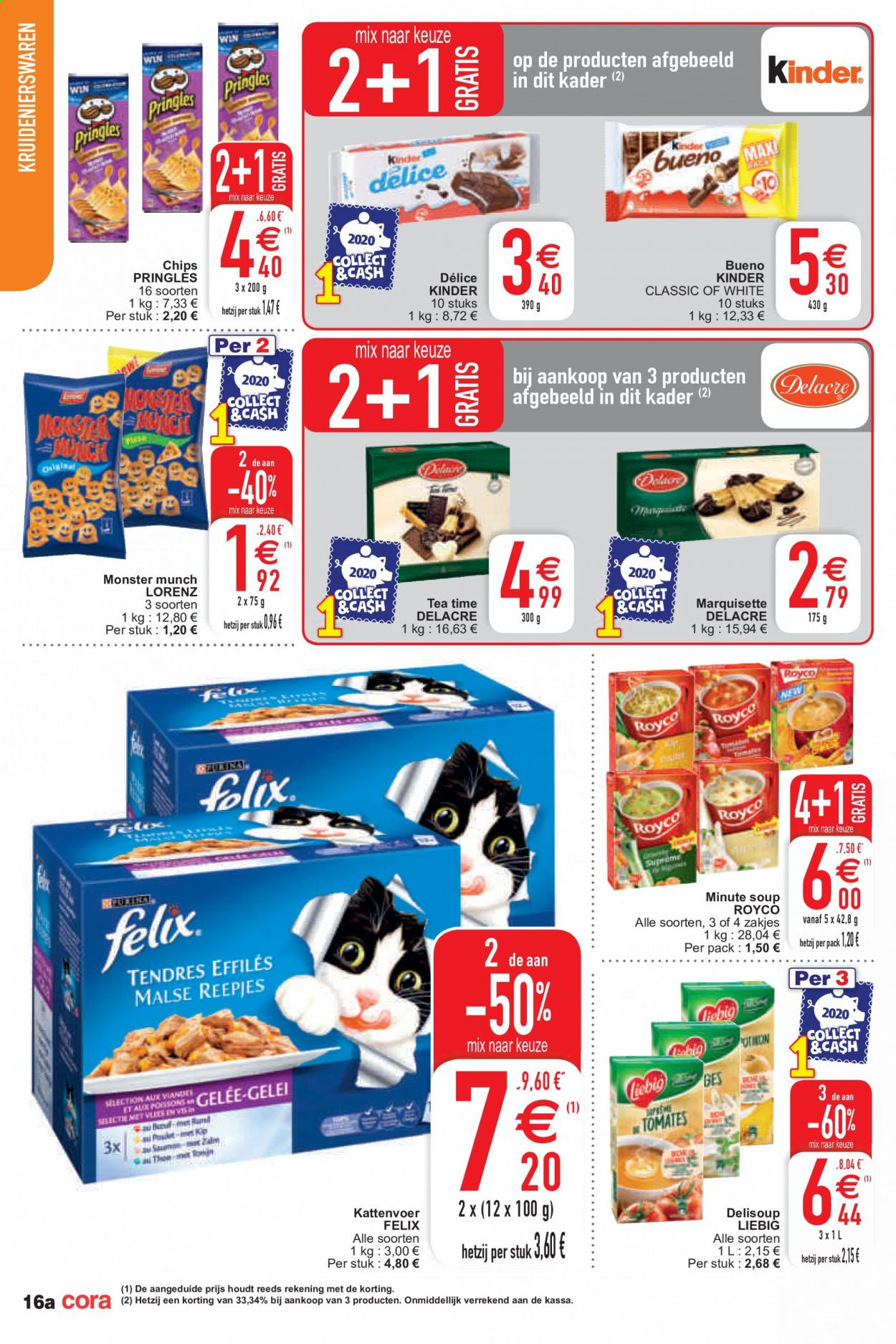 Catalogue Cora - 6.10.2020 - 12.10.2020 - Produits soldés - chips, kinder. Page 16.