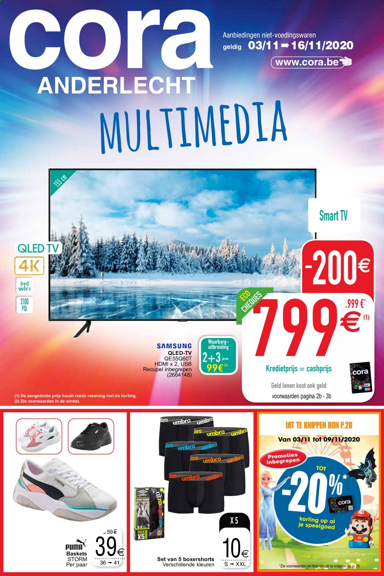 Catalogue Cora - 3.11.2020 - 16.11.2020 - Produits soldés - basket, hdmi, tv qled, umbro, usb, smart tv, puma, samsung. Page 1.