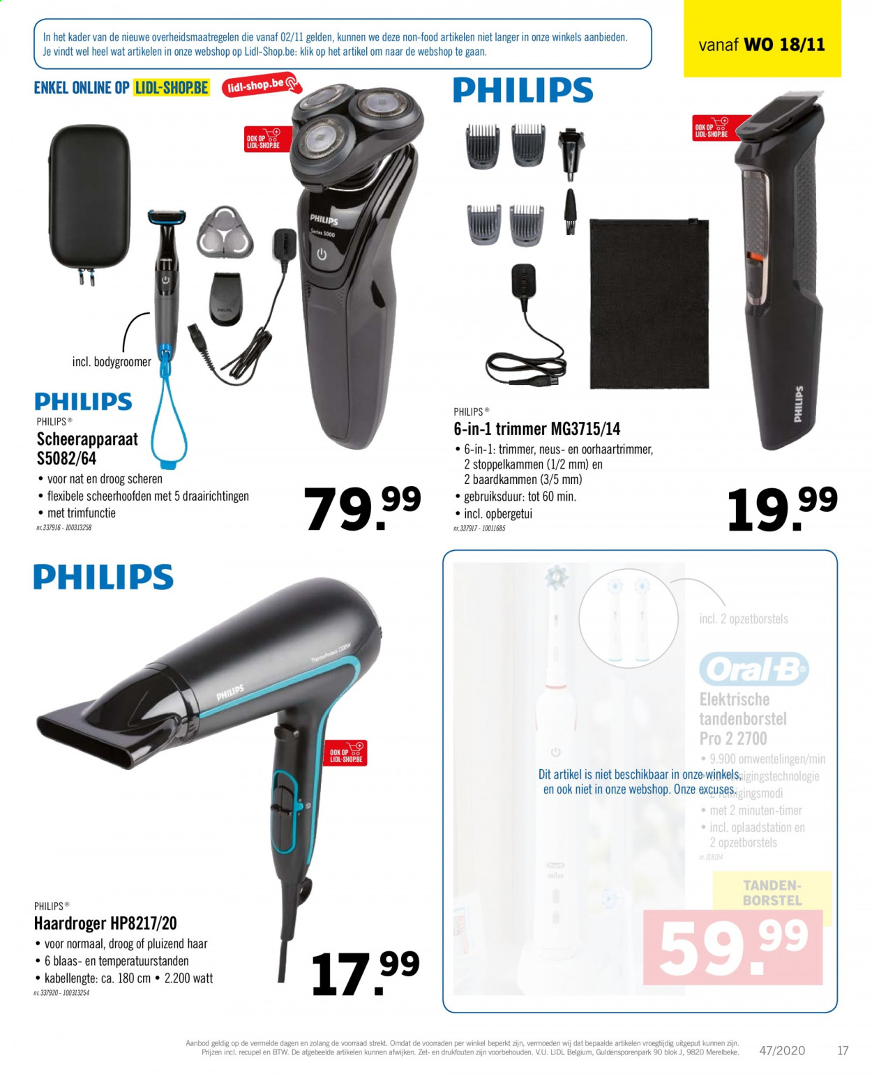 Catalogue Lidl - 16.11.2020 - 21.11.2020 - Produits soldés - philips. Page 19.