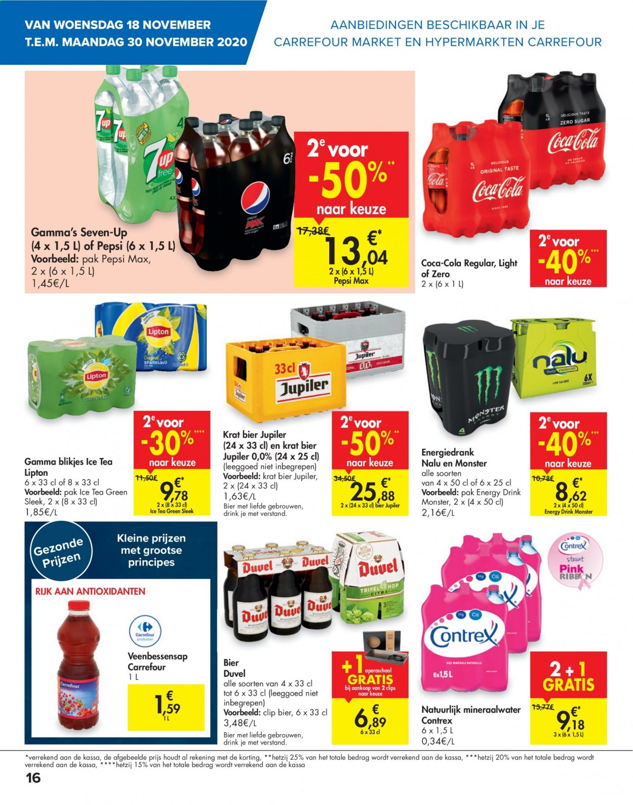 Carrefour-aanbieding - 18.11.2020 - 23.11.2020 -  producten in de aanbieding - ice tea, mineraalwater, pepsi, tea, energy drink, bier. Pagina 16.