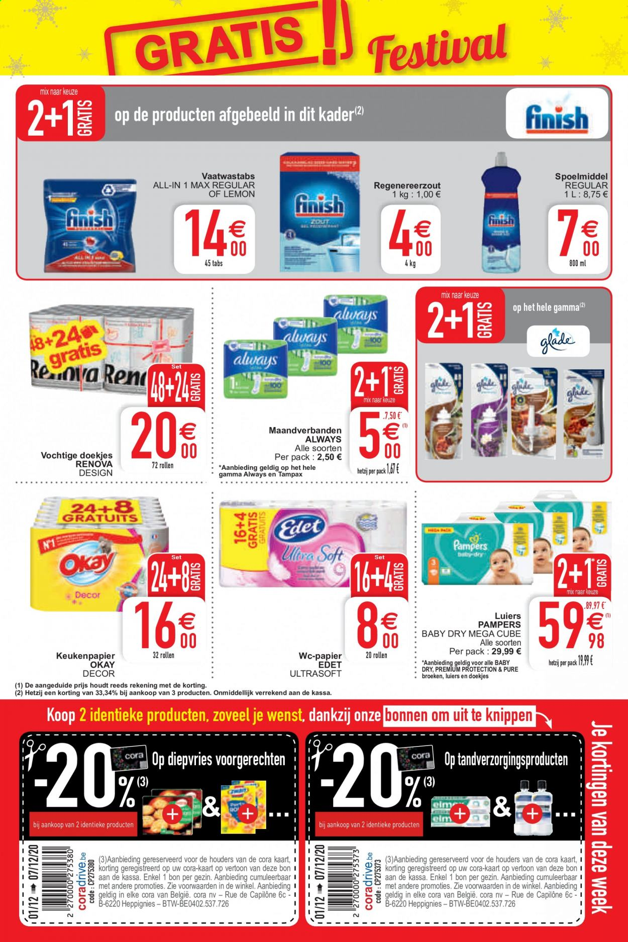 Catalogue Cora - 1.12.2020 - 7.12.2020 - Produits soldés - always, tampax, pampers. Page 3.