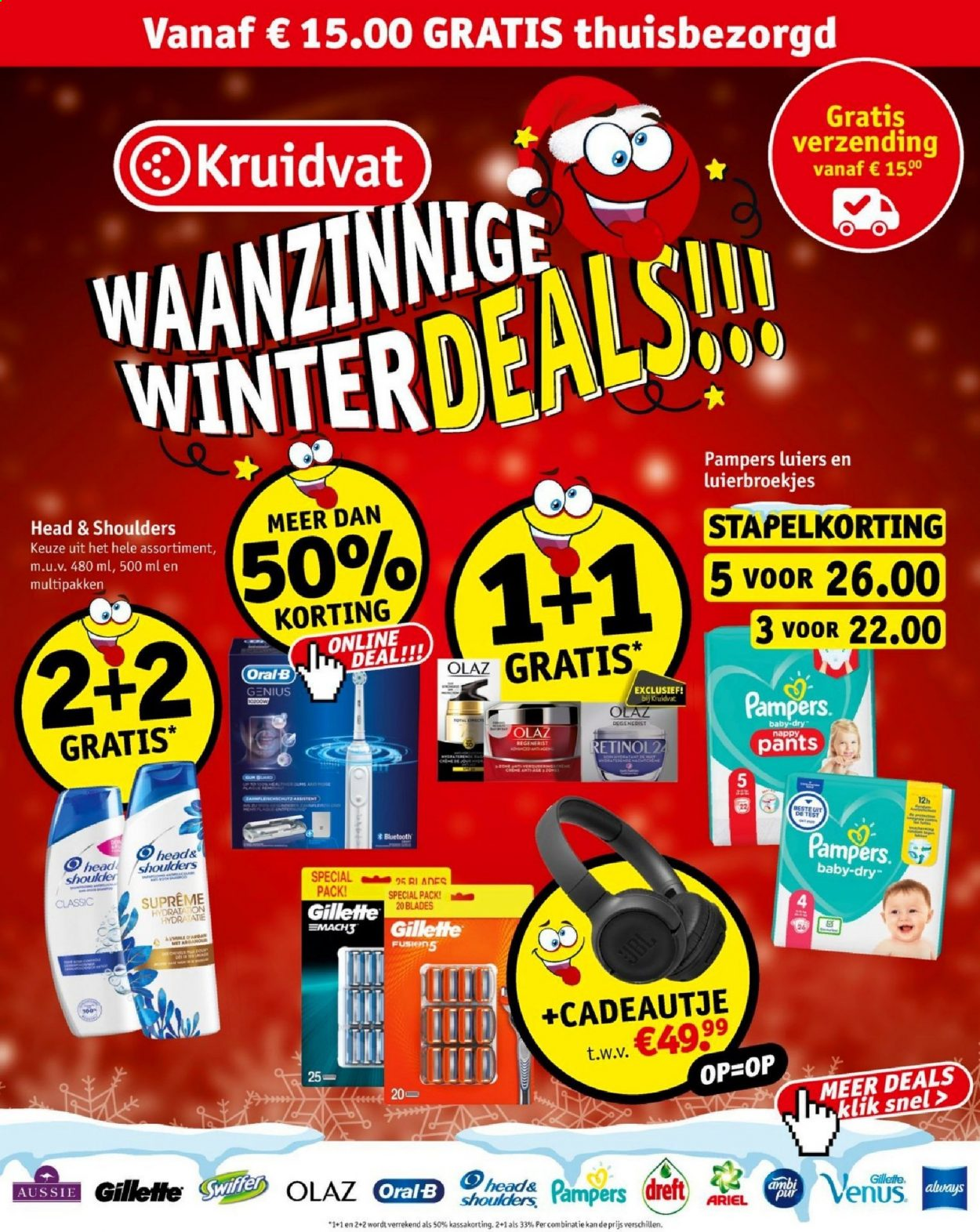 Kruidvat-aanbieding - 14.12.2020 - 27.12.2020 -  producten in de aanbieding - ariel, baby, bluetooth, head, head & shoulders, jbl, korting, oral b, pampers, pur, venus, olaz, gillette, always, luiers. Pagina 1.