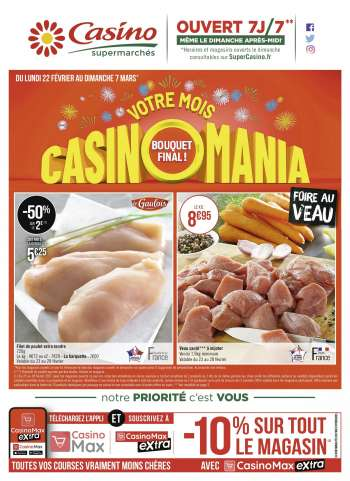 Catalogue Casino Supermarchés - 22.02.2021 - 07.03.2021.