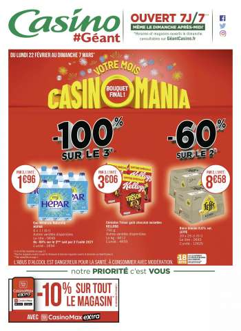Catalogue Géant Casino - 22.02.2021 - 07.03.2021.