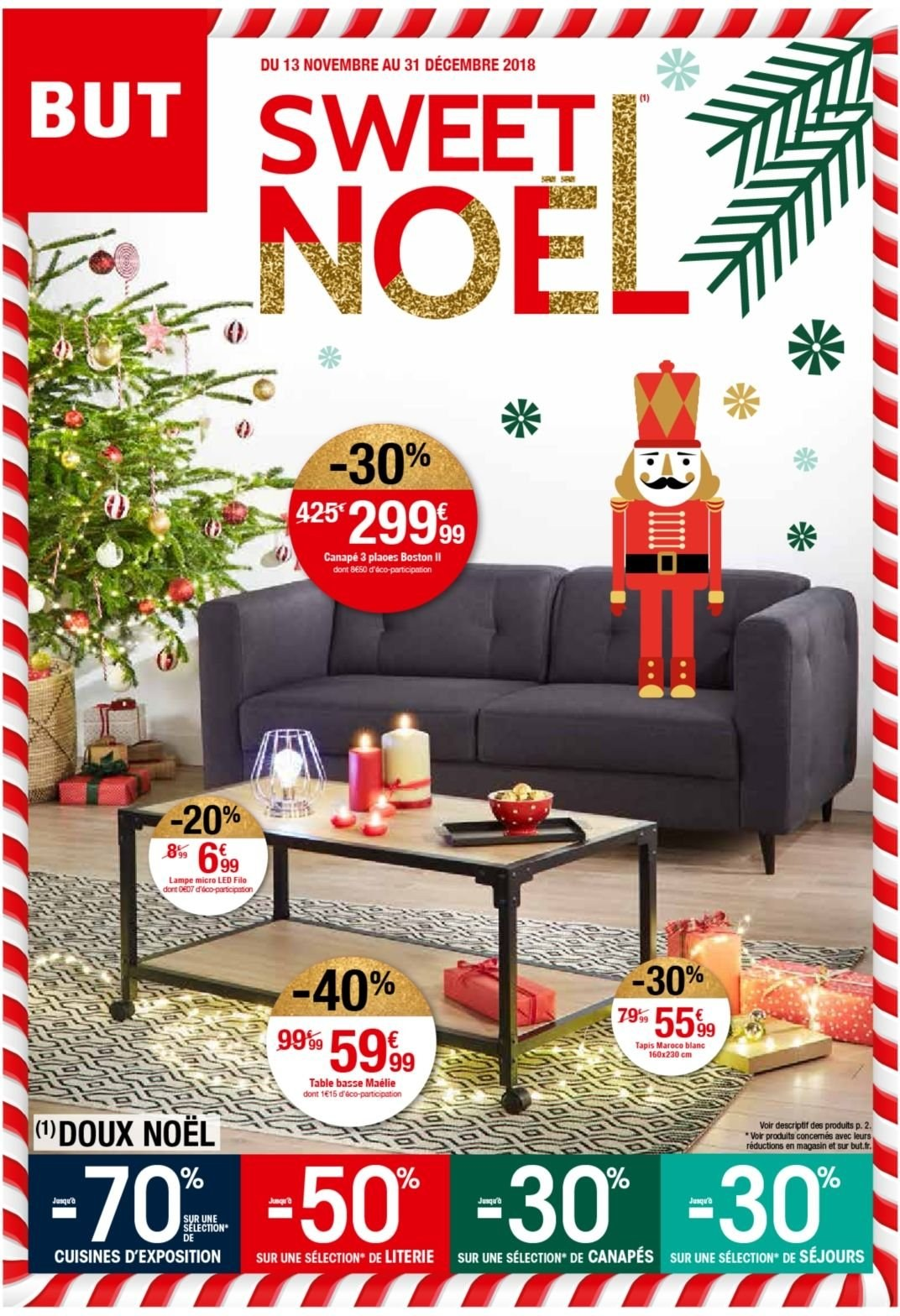 Catalogue But - 13.11.2018 - 31.12.2018 - Produits soldés - cuisine, tapis, canapé, table, table basse, lampe, micro-led, noël. Page 1.