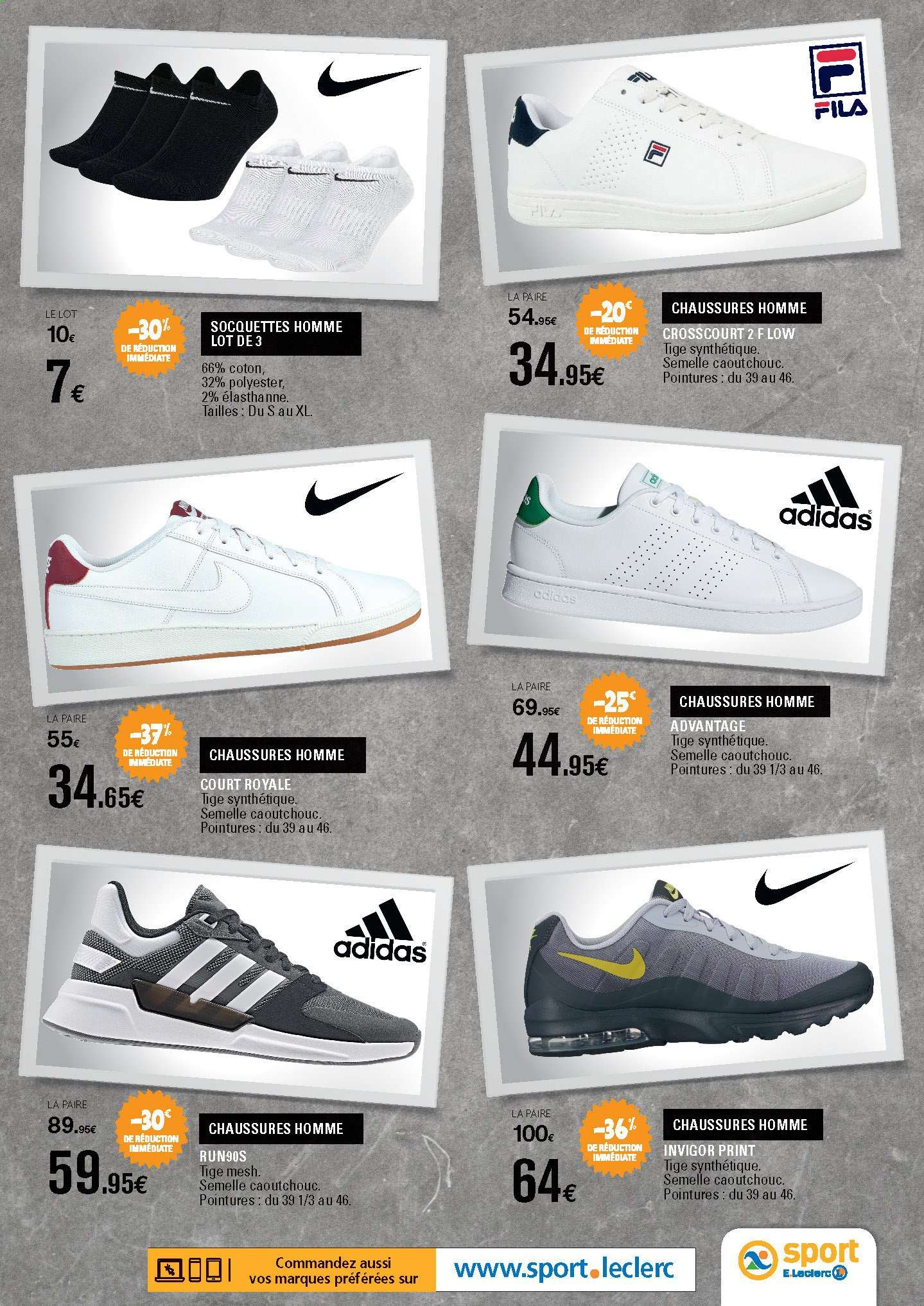 collection chaussures adidas chez leclerc