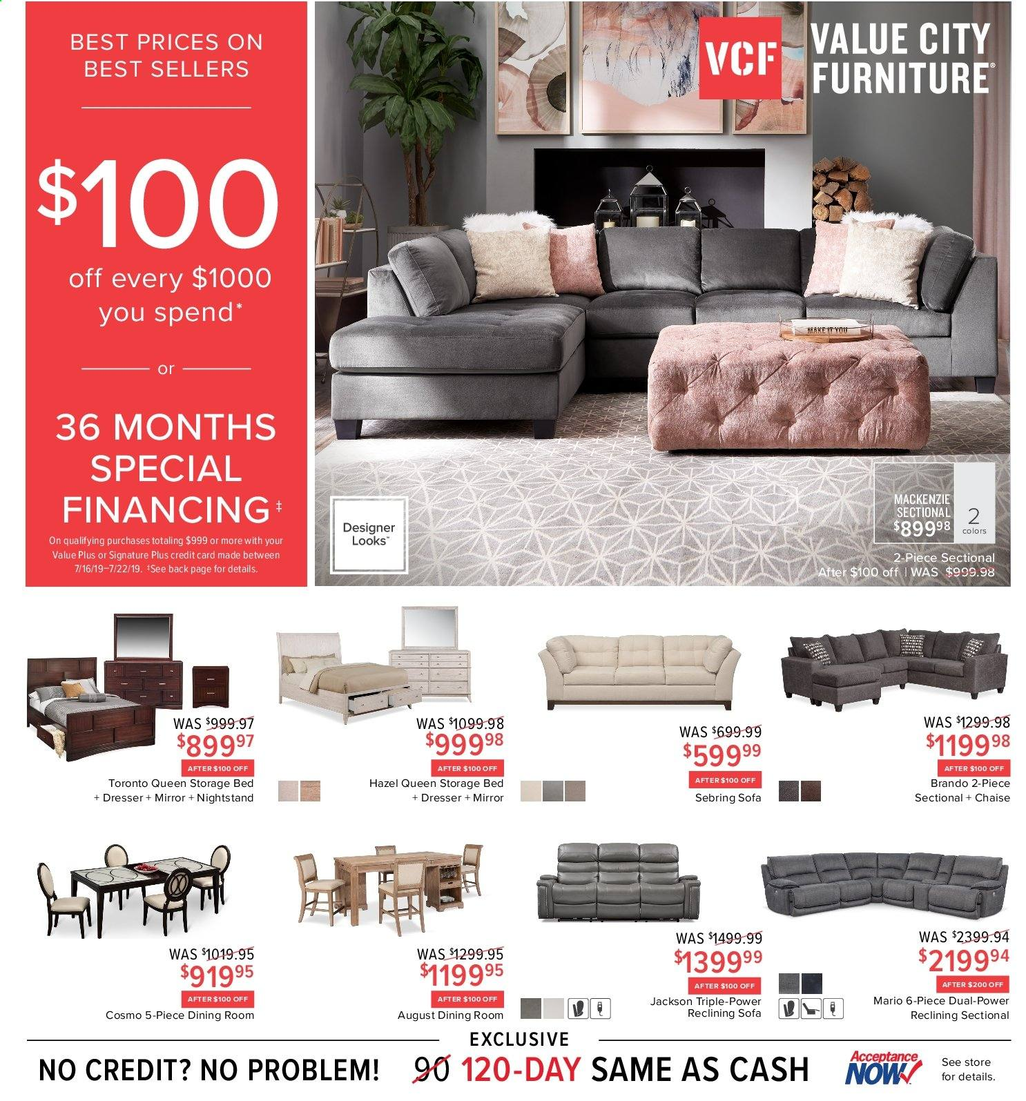 Value City Furniture Flyer  - 07.16.2019 - 07.22.2019. Page 1.
