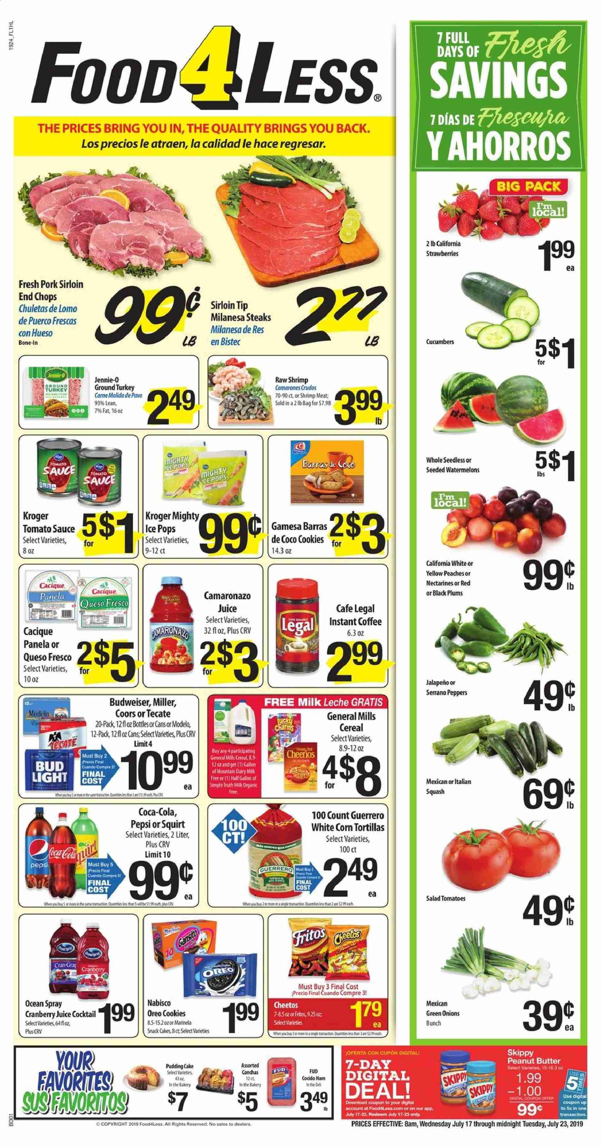 Food 4 Less Flyer  - 07.17.2019 - 07.23.2019. Page 1.