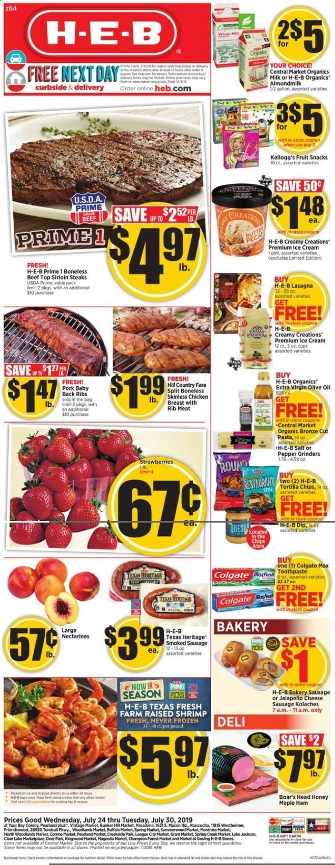 H-E-B Flyer  - 07.24.2019 - 07.30.2019. Page 1.