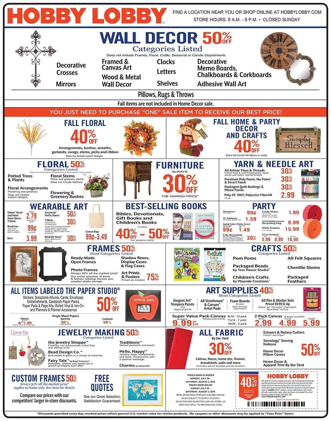Hobby Lobby Flyer - 07.28.2019 - 08.03.2019 - Sales products - box, sticker, pen, scissors, envelope, paper, ribbon, sheet, pillow, pillow cover, wall decor, pad, throws, charm. Page 1.