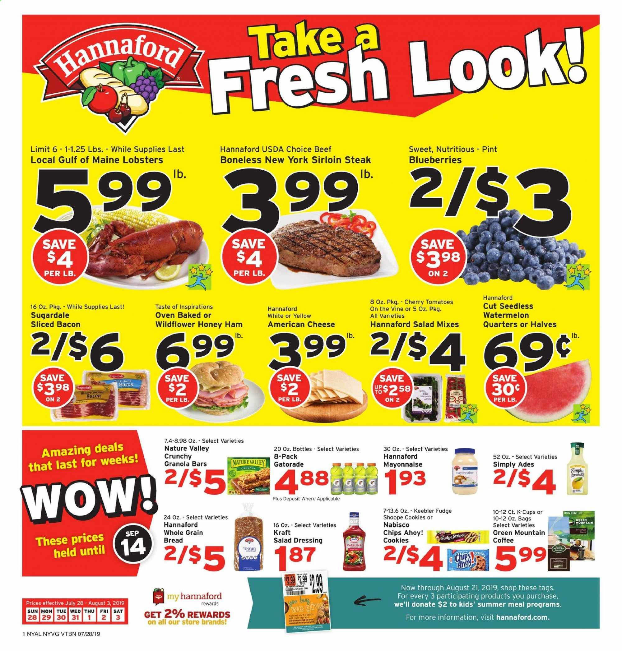 Hannaford Flyer  - 07.28.2019 - 08.03.2019. Page 1.