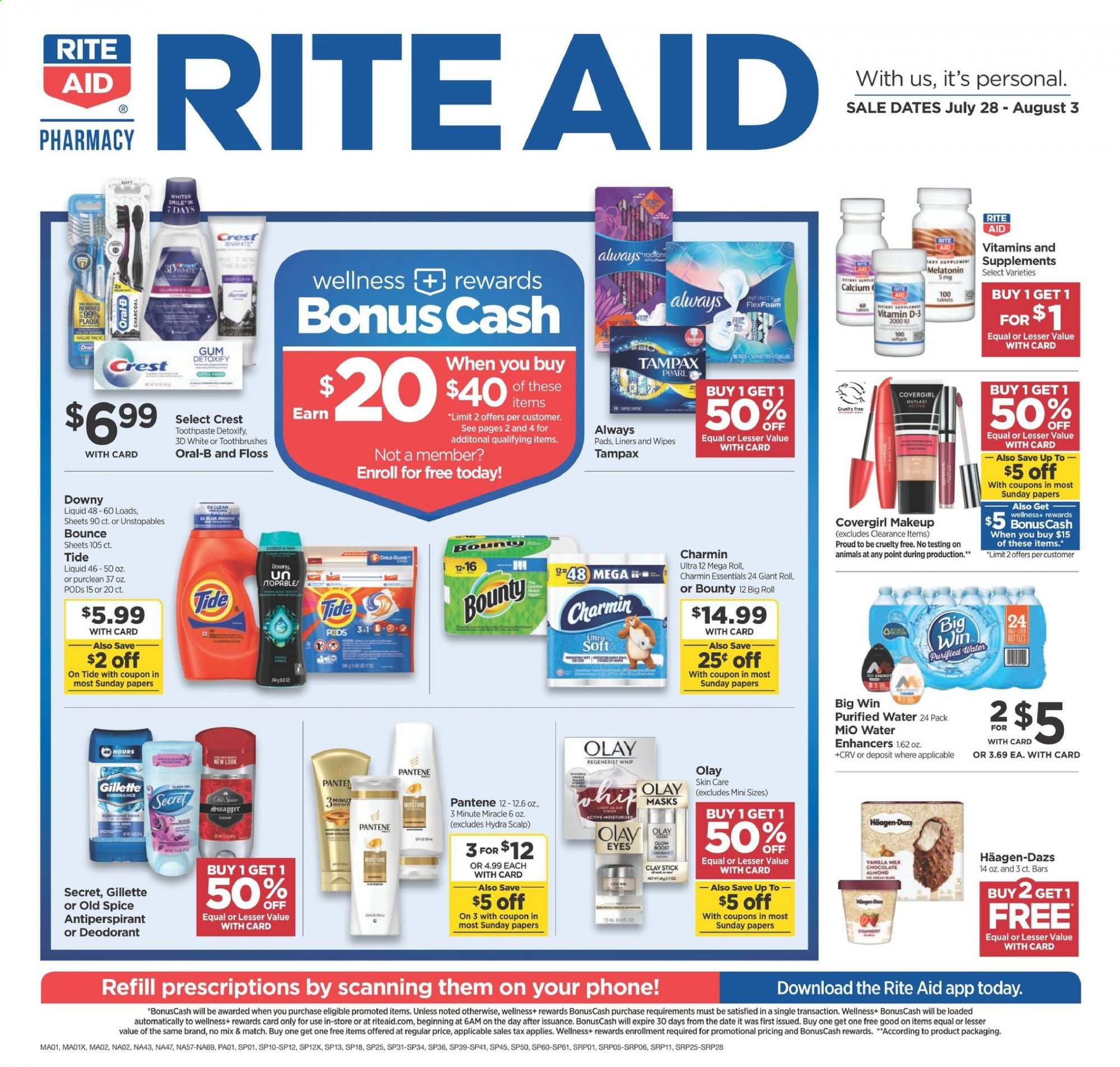 RITE AID Flyer - 07.28.2019 - 08.03.2019 - Sales products - always, bounce, calcium, crest, dates, deodorant, downy, gillette, makeup, melatonin, milk chocolate, moisture, secret, stick, tampax, tide, unstopables, wipes, pantene, olay, old spice, pads, oral-b, chocolate, toothpaste, gum, bounty, gear, refill, liquid, tablets, smile, purified water. Page 1.