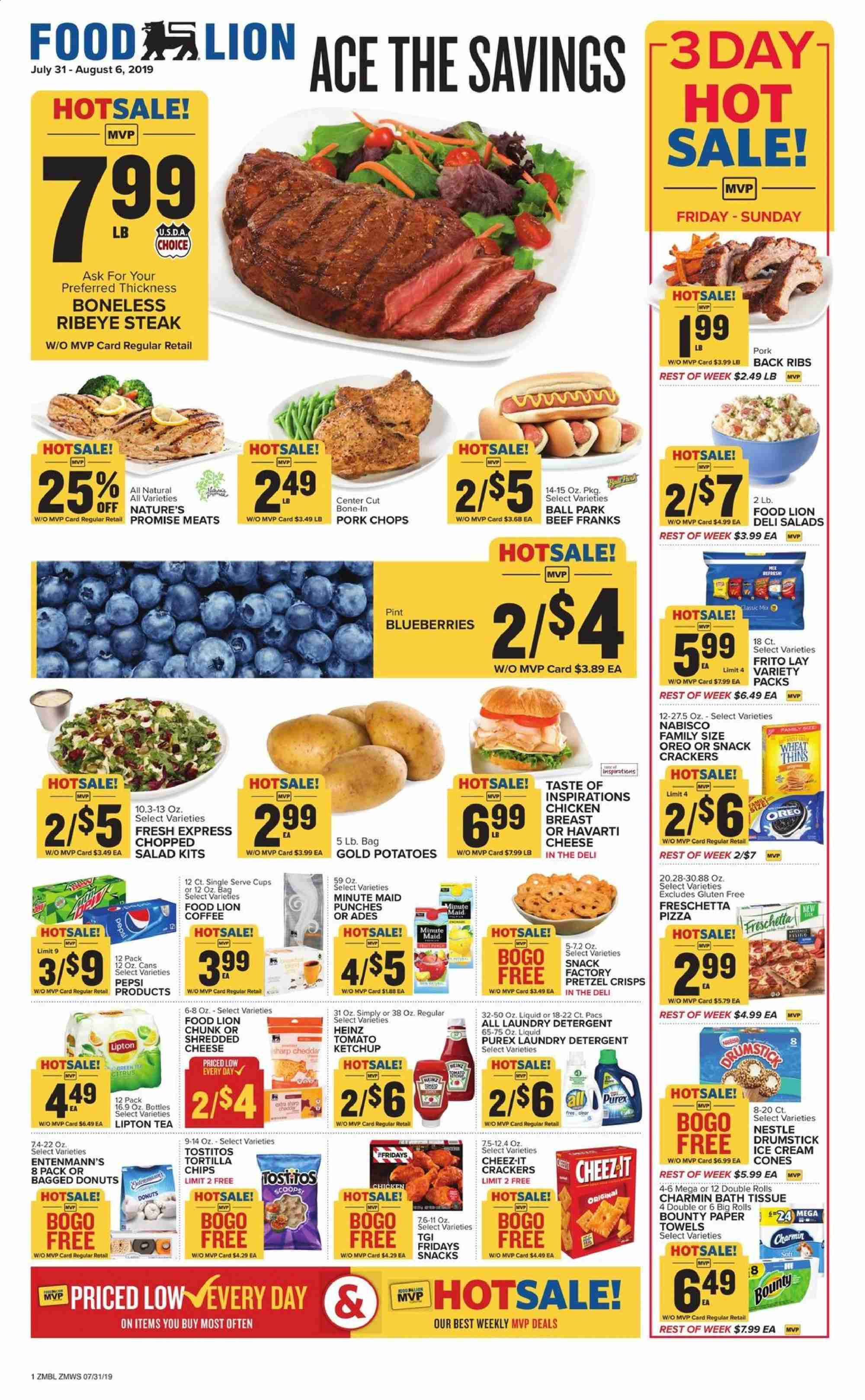 Food Lion Flyer  - 07.31.2019 - 08.06.2019. Page 1.