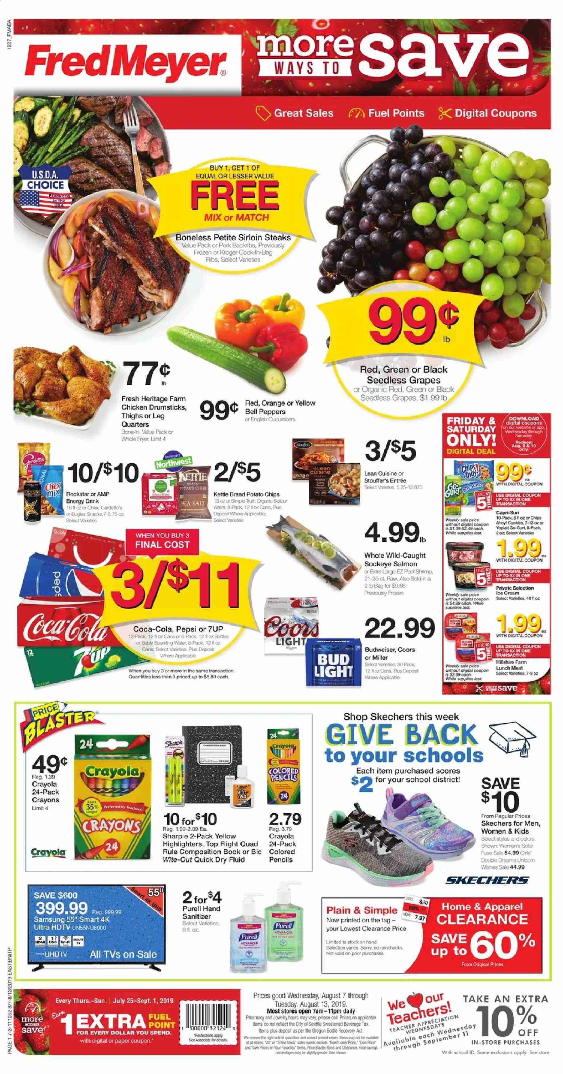 Fred Meyer Flyer - 08.07.2019 - 08.13.2019 - Sales products - Budweiser, Bud Light, Coors, bell peppers, cucumbers, peppers, grapes, seedless grapes, orange, salmon, shrimps, Hillshire Farm, lunch meat, cookies, potato chips, chips, snack, salt, sea salt, Coca-Cola, Pepsi, energy drink, water, chicken, chicken legs, pork meat, BIC, hand sanitizer, quick dry, Frozen, paper, pencil, book, Samsung, HDTV, TV, fuel, cream, Skechers. Page 1.