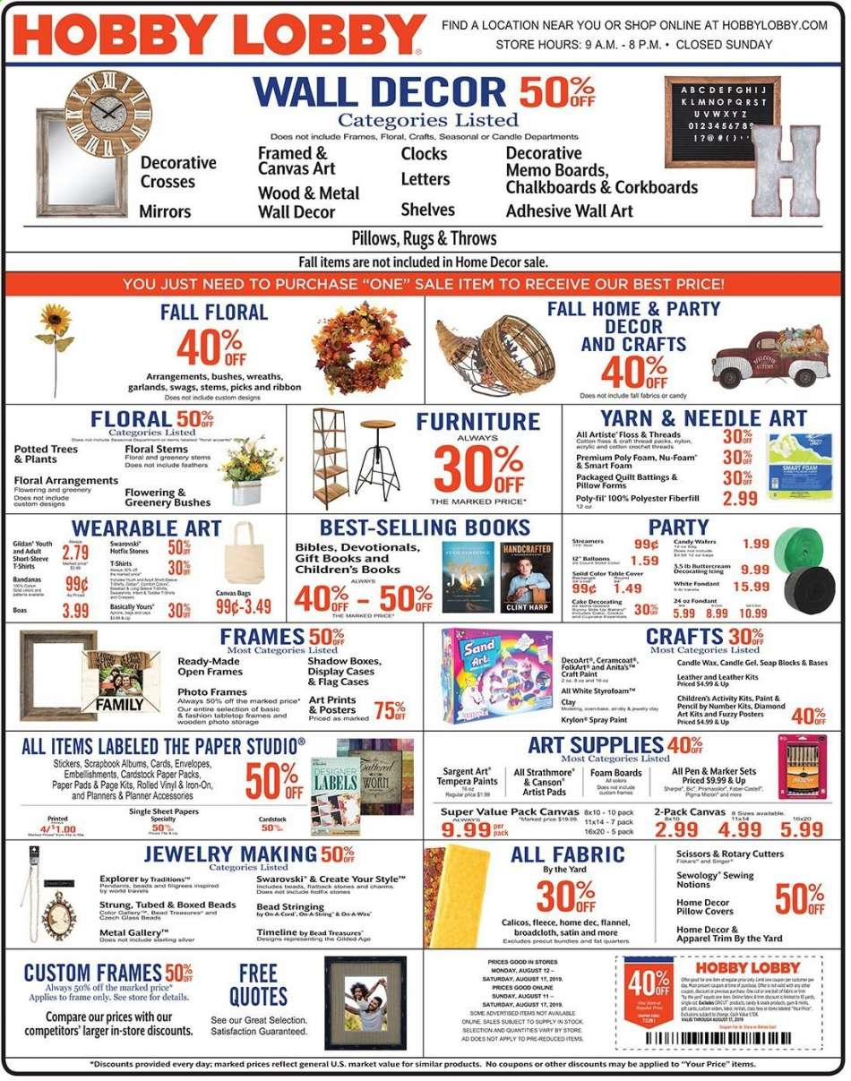 Hobby Lobby flyer 08 11 2019 - 08 17 2019 | Weekly-ads us