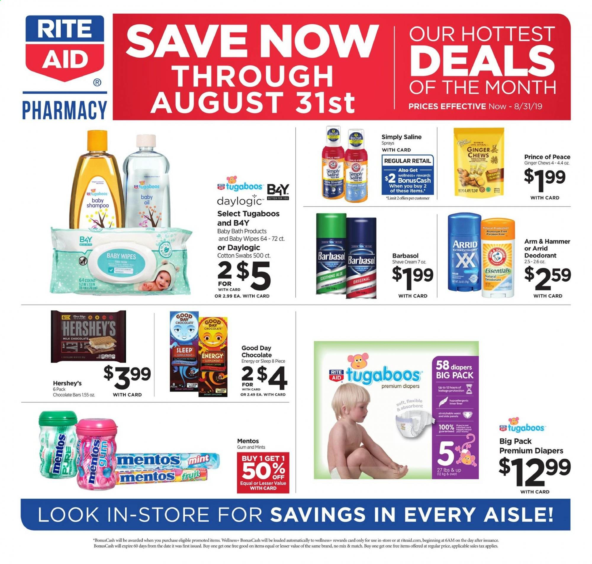 RITE AID Flyer - 08.11.2019 - 08.31.2019 - Sales products - arm & hammer, bath, cotton, deodorant, ginger, milk chocolate, mint, shampoo, wipes, chocolate, hammer, gum, mentos, baby wipes, fruit, chews, oil, cream, diapers. Page 1.