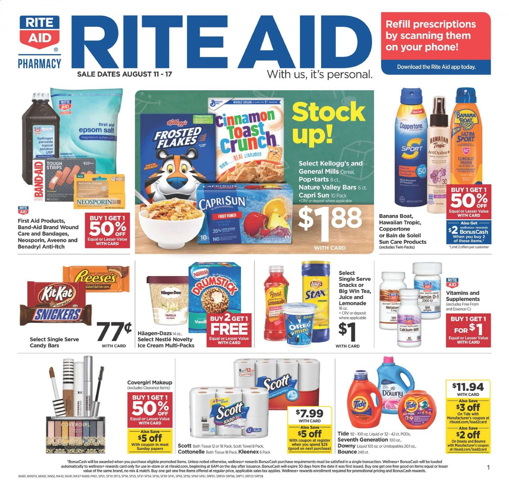 RITE AID Flyer - 08.11.2019 - 08.17.2019 - Sales products - Scott, rolls, ice cream, Oreo, Nestlé, candy, snack, salt, strawberries, cereals, Capri Sun, lemonade, juice, water, tea, Aveeno, ointment, bath tissue, Cottonelle, Kleenex, Downy, Tide, Unstopables, makeup, calcium, Magnesium, Neosporin, band-aid. Page 1.