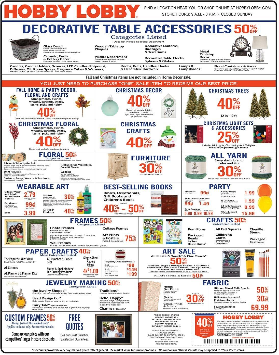 Hobby Lobby Flyer  - 08.18.2019 - 08.24.2019. Page 1.