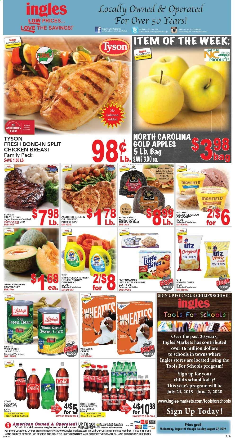 Ingles Flyer - 08.21.2019 - 08.27.2019 - Sales products - cantaloupe, corn, green beans, apples, ham, american cheese, cheese, ice cream, beans, potato chips, chips, cereals, honey, Coca-Cola, Sprite, turkey, chicken, chicken breast, beef meat, steak, pork chops, pork meat, detergent, Tide, tools. Page 1.