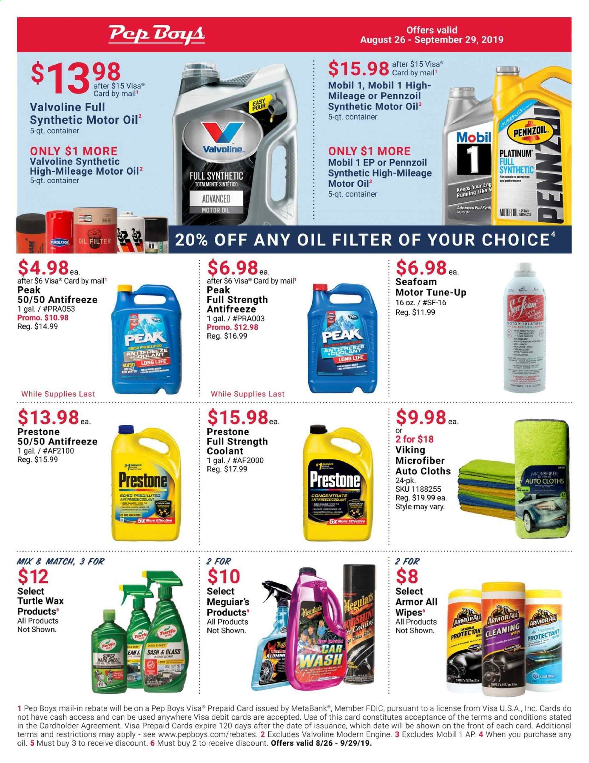 Pep Boys Flyer  - 08.26.2019 - 09.29.2019. Page 1.
