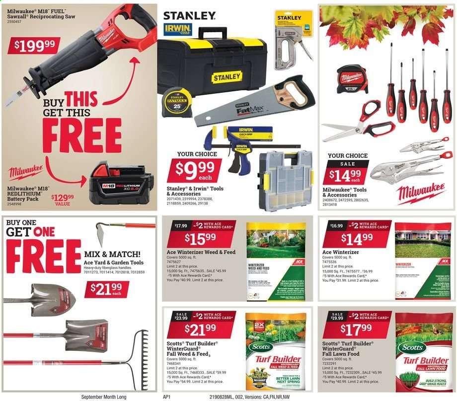 ACE Hardware flyer 08 28 2019 - 09 30 2019 | Weekly-ads us