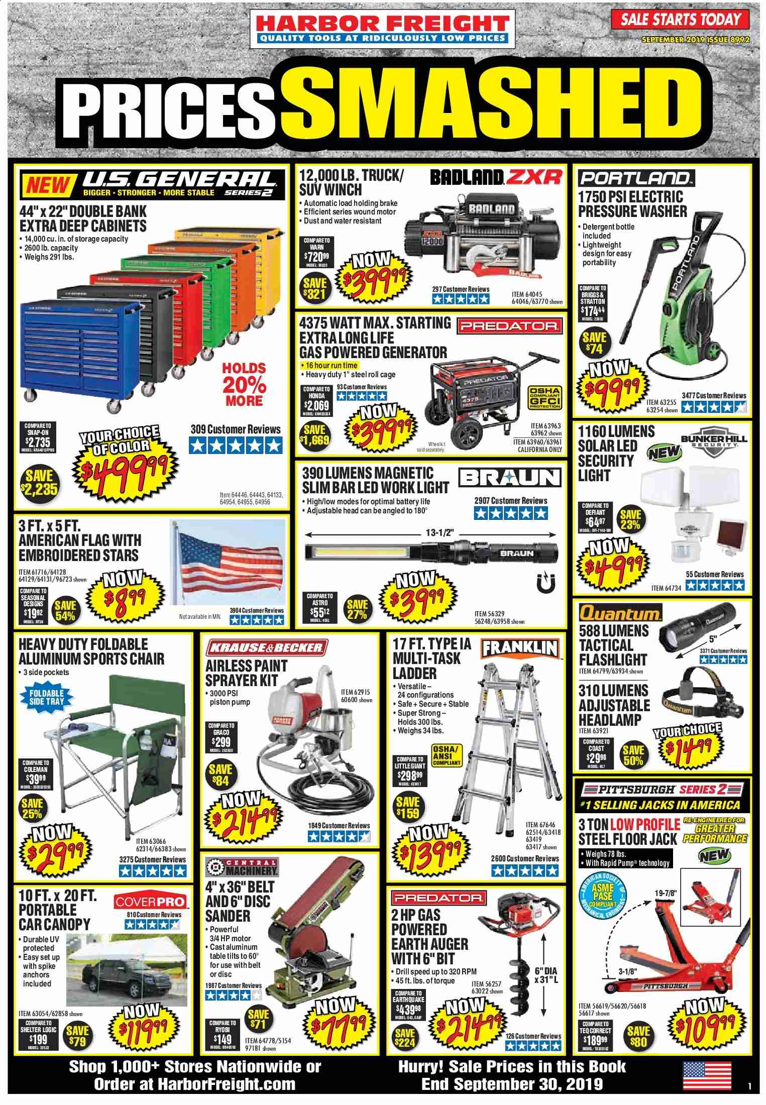 Harbor Freight Flyer  - 09.01.2019 - 09.30.2019. Page 1.