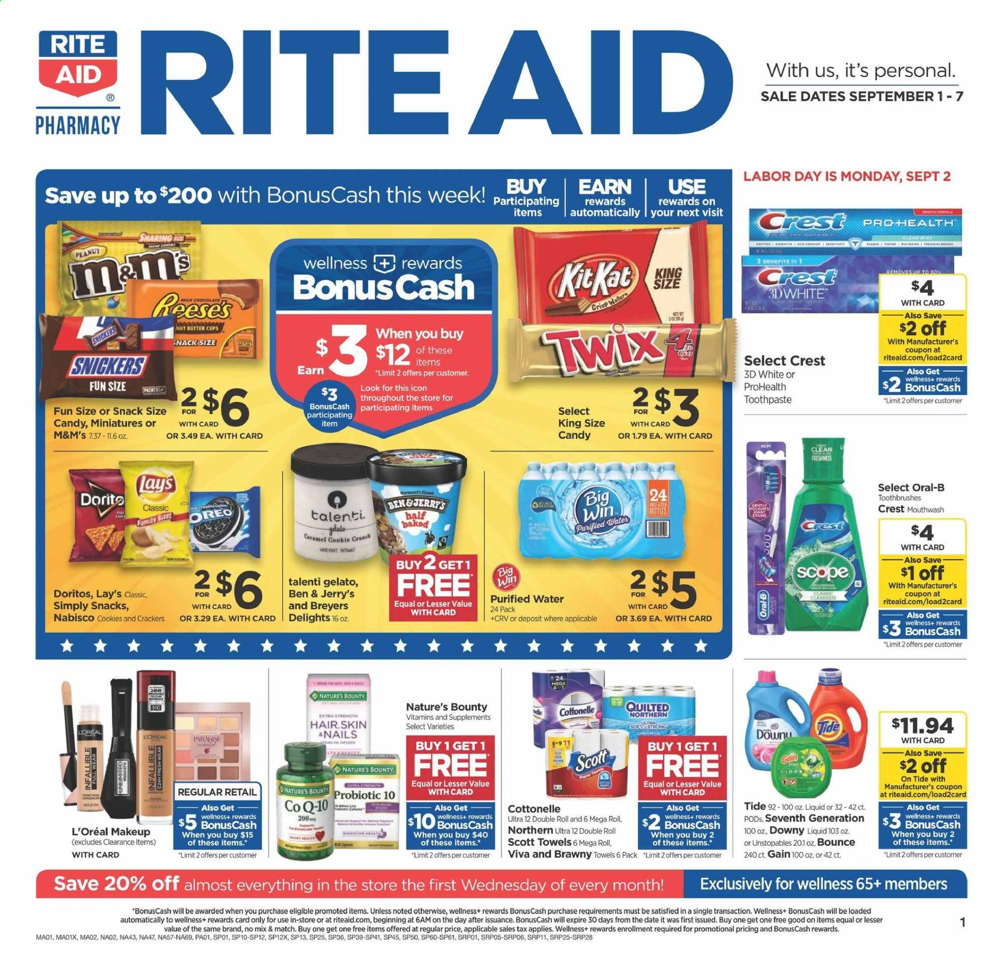 RITE AID Flyer - 09.01.2019 - 09.07.2019 - Sales products - ale, bounce, butter, cookies, cottonelle, crackers, crest, dates, doritos, downy, gain, gelato, l'oréal, makeup, milk, nature's bounty, scott, tide, towel, unstopables, peanuts, oreo, oral-b, candy, toothpaste, snack, lay's, quilted northern, car, snickers, twix, bounty, mouthwash, liquid, extra strength, purified water, m&m's. Page 1.