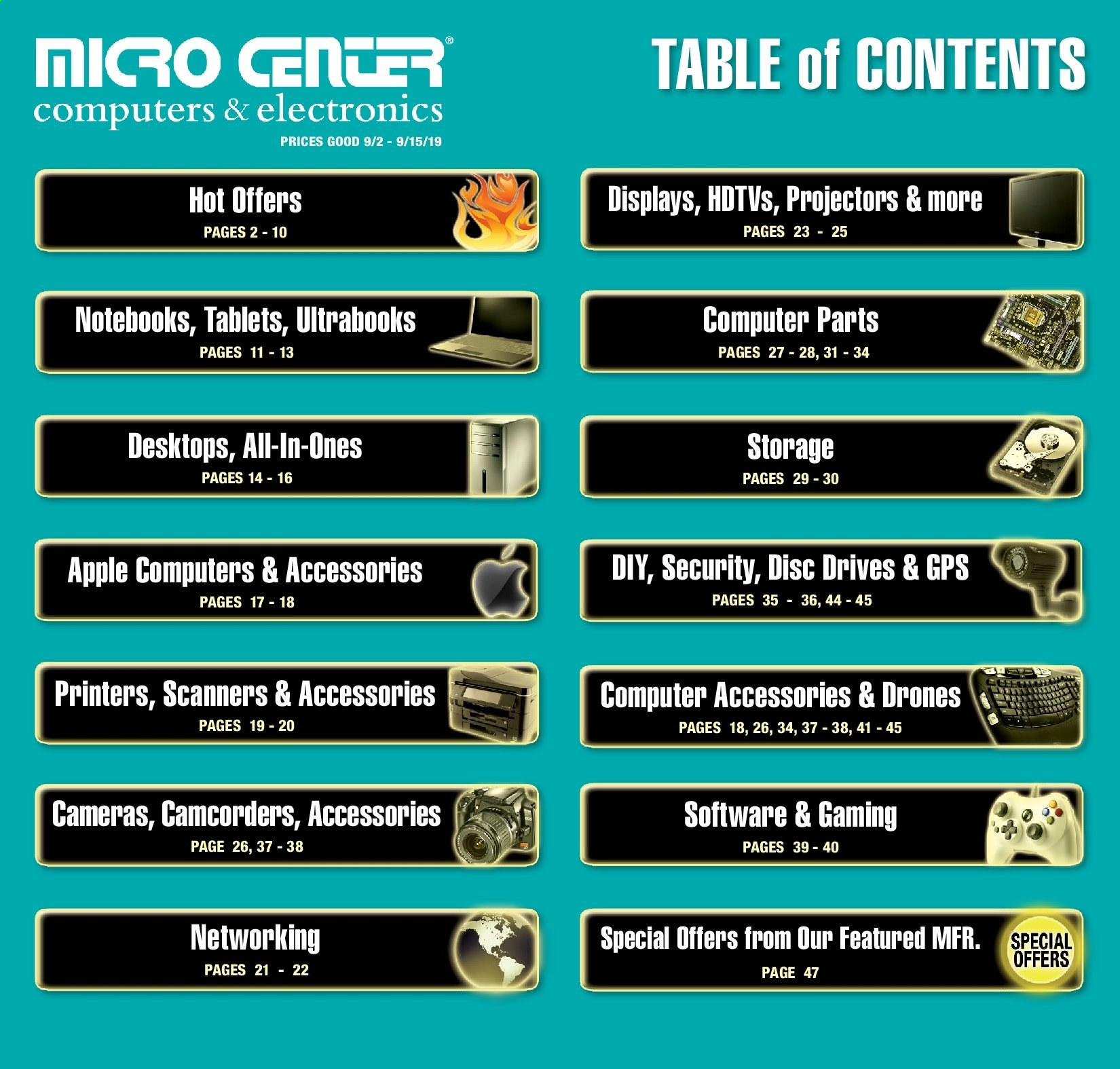 Micro Center Flyer  - 09.02.2019 - 09.15.2019. Page 1.