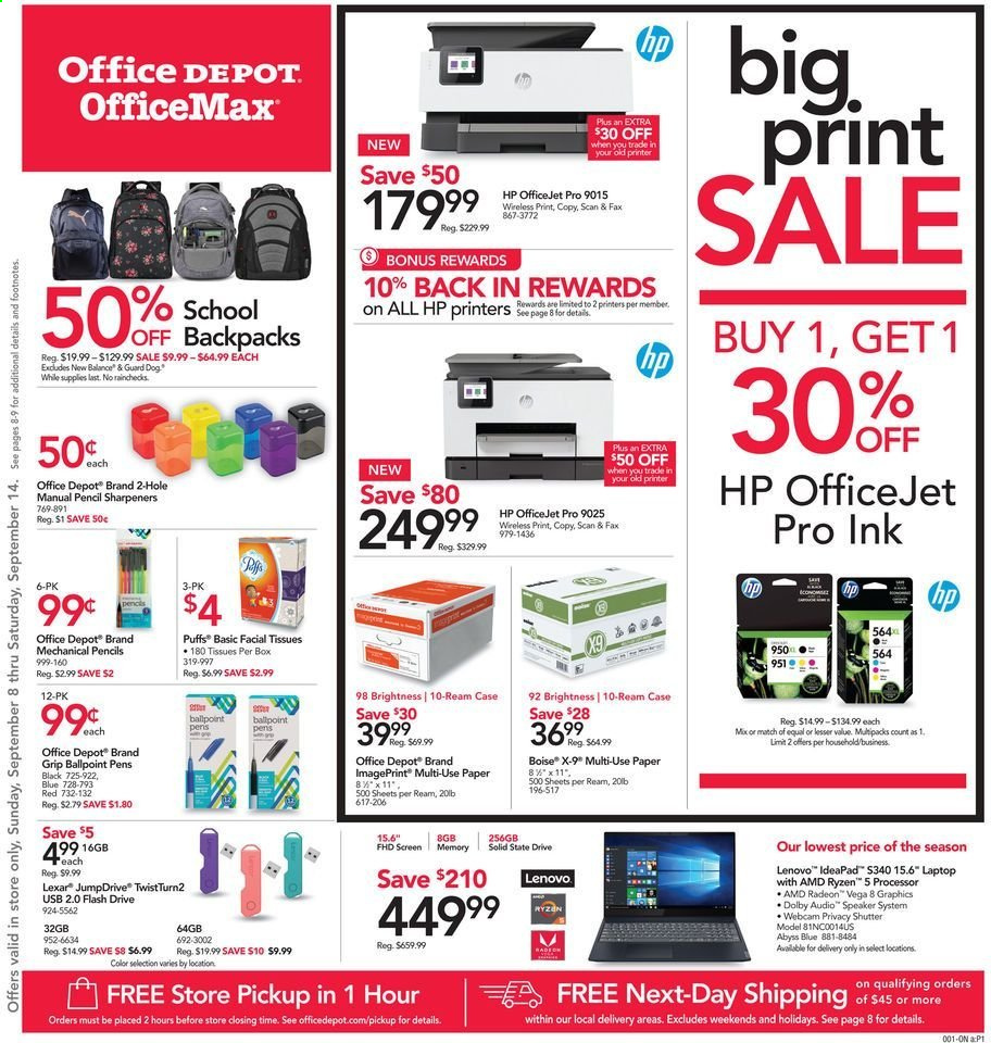 Office DEPOT Flyer - 09.08.2019 - 09.14.2019 - Sales products - Lenovo, HP, paper, pencil, laptop, ryzen, flash drive, Radeon, AMD Radeon, speaker, printer, HP OfficeJet, Jet. Page 1.