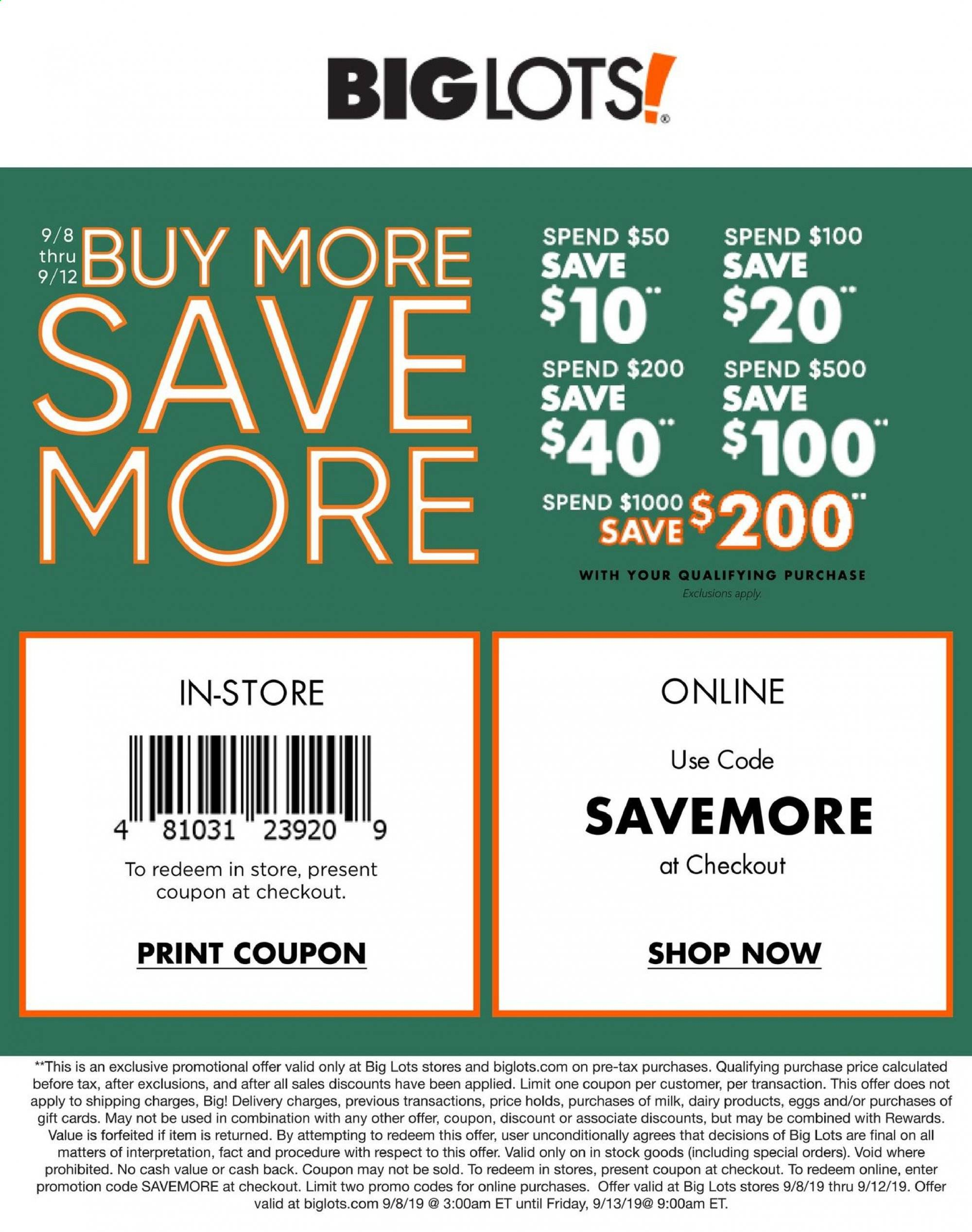 Big Lots Flyer 09 08 2019 09 12 2019 Page 1 Weekly Ads